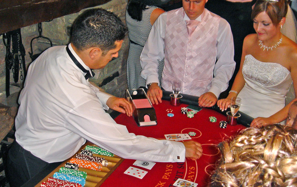 The new Mr & Mrs Gibbs challenge Lee in a Blackjack Tournament at The Rookery Manor Hotel, Crickhowell, Powys